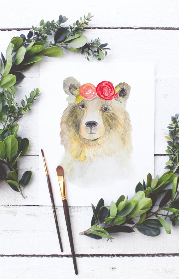 Watercolor Animal Prints Crown Drawing Bear Paintings