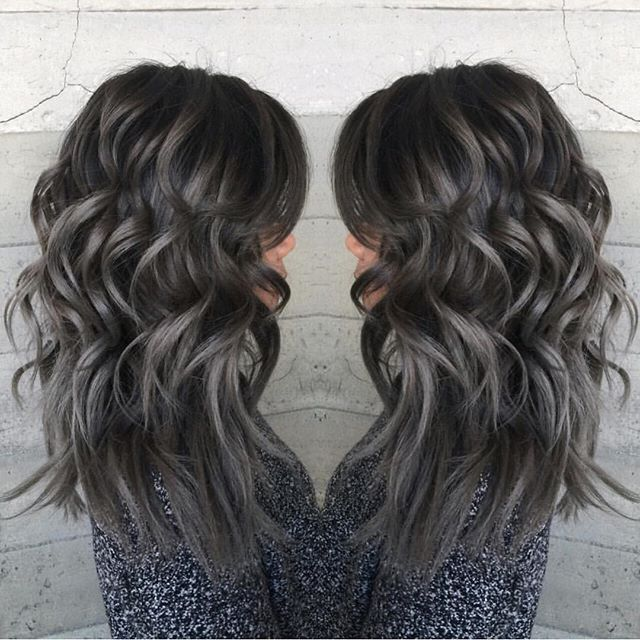 Silver Ends And Dark Grey Roots Ombre Hair