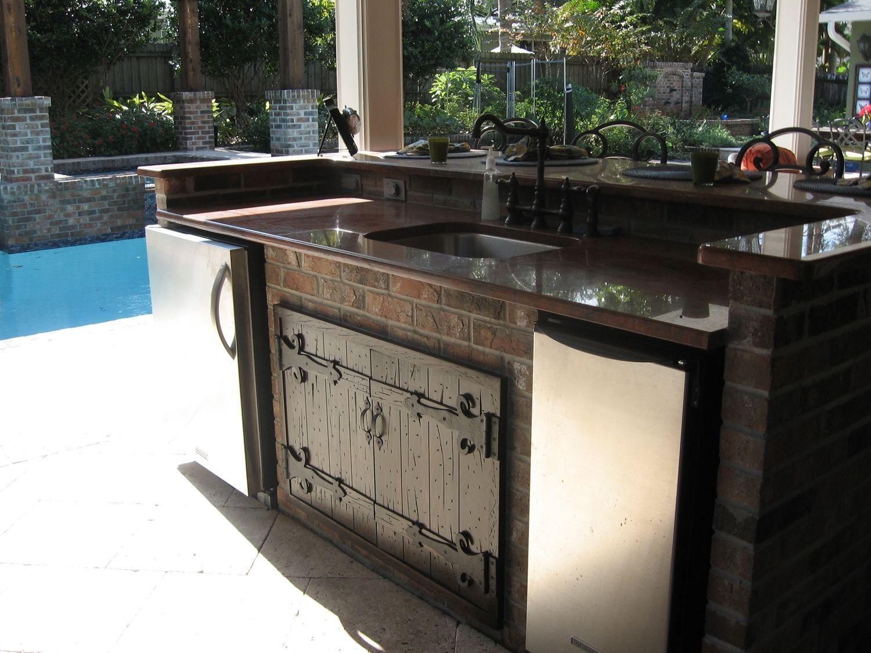 Outdoor kitchen wood or metal kitchen countertops pinterest