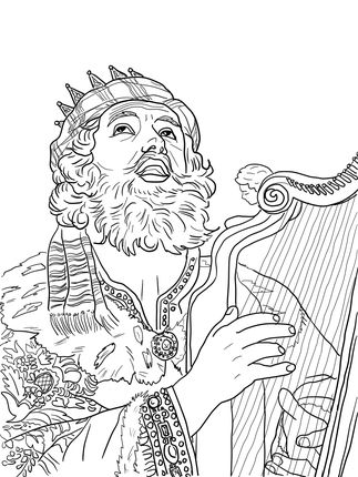 King David Playing The Harp Coloring Page Coloring Pages Bible