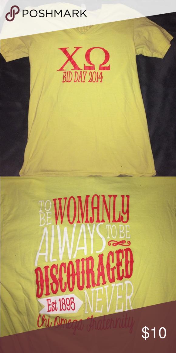 Chi Omega Bid Day 2014 symphony shirt Yellow chi omega bud day symphony shirt American Apparel Tops Tees - Short Sleeve