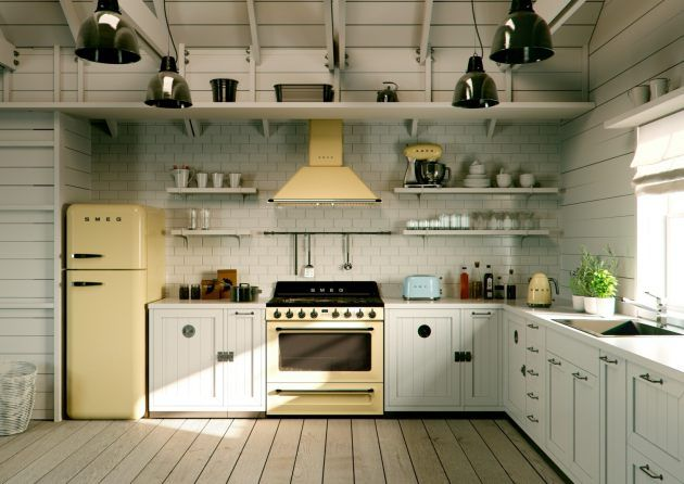 Smeg Kühlschrank Küche : Kleine küche mit freistehendem kühlschrank smeg kühlschrank