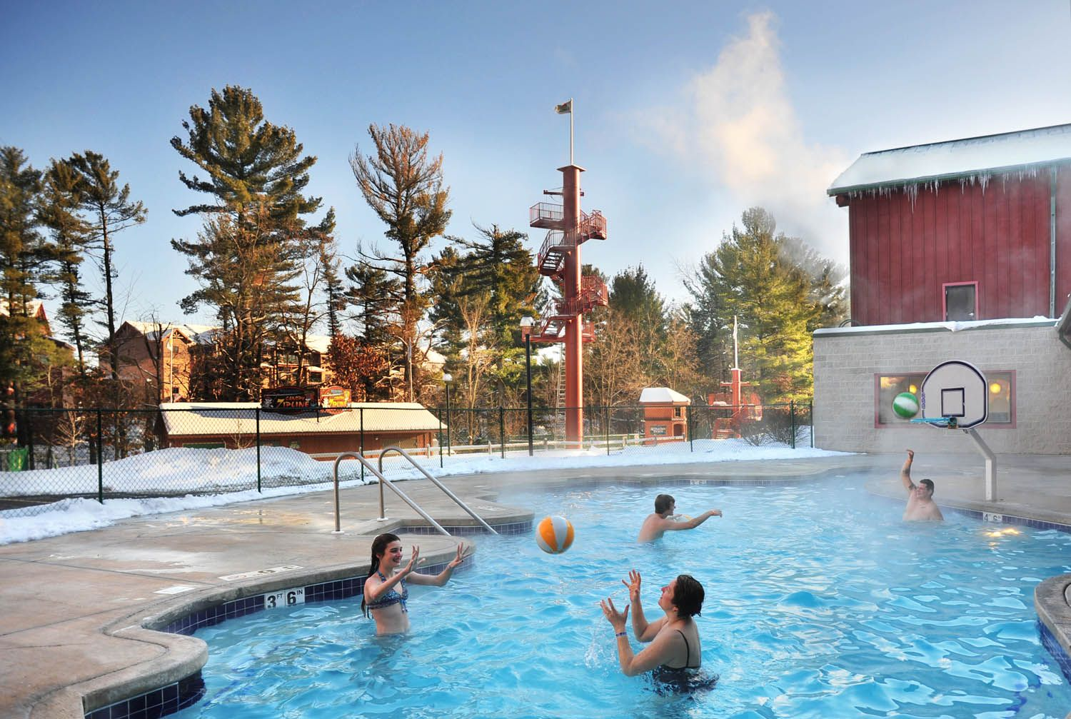 Swim And Play Outside During The Winter Indoor Outdoor Pool At Klondike Kavern Indoor Waterpark Wilderness Resort Water Park Wilderness Resort Wisconsin Dells