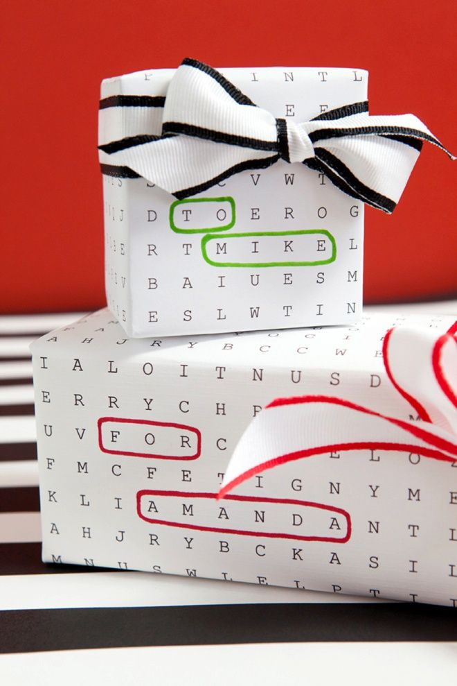 Awesome Gift Wrap Idea Using Free Edit And Print Word Search Paper