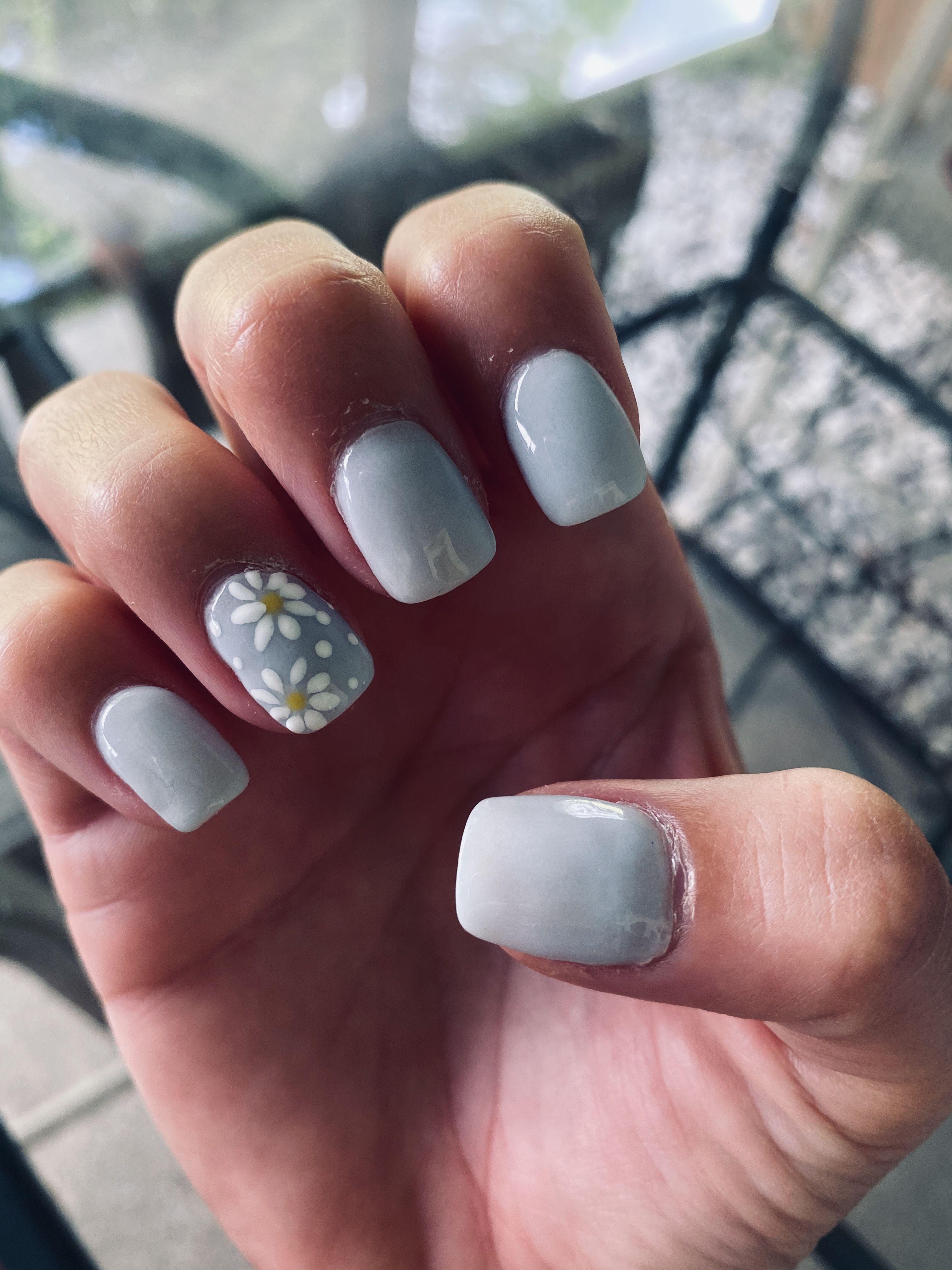 #blue #lightblue #flowers #naturalnails #snsnails #powder #dip #nails #simple #square #short #shortnails #accentnails