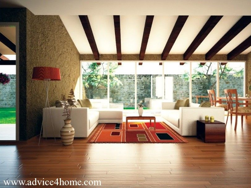 Tan wall design and white sofa in living-room with wooden ceiling ...