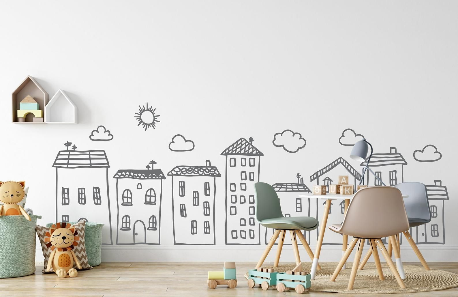 Doodle City Wall Art Decals For Kids Room Playroom Preschool Nursery Decor Handpainted House Wall Stickers Modern Nursery Decal Neutral Baby Nursery Wall Art Decal Wall Art City Wall Art Wall decals for kids bedroom