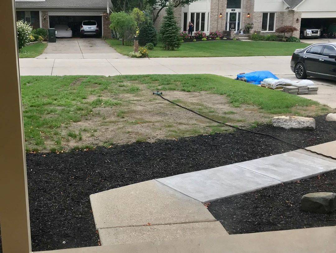 Lawn Update Grass Is Coming In But A Storm Washed The Seed And Mulch Into Piles Going To Have To Re Seed The Bare Diy Lawn Concrete Walkway Diy Landscaping