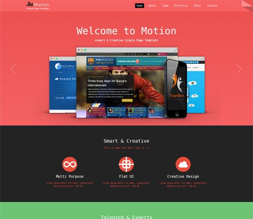 Free website template CSS HTML5 Motion a Personal Portfolio Flat
