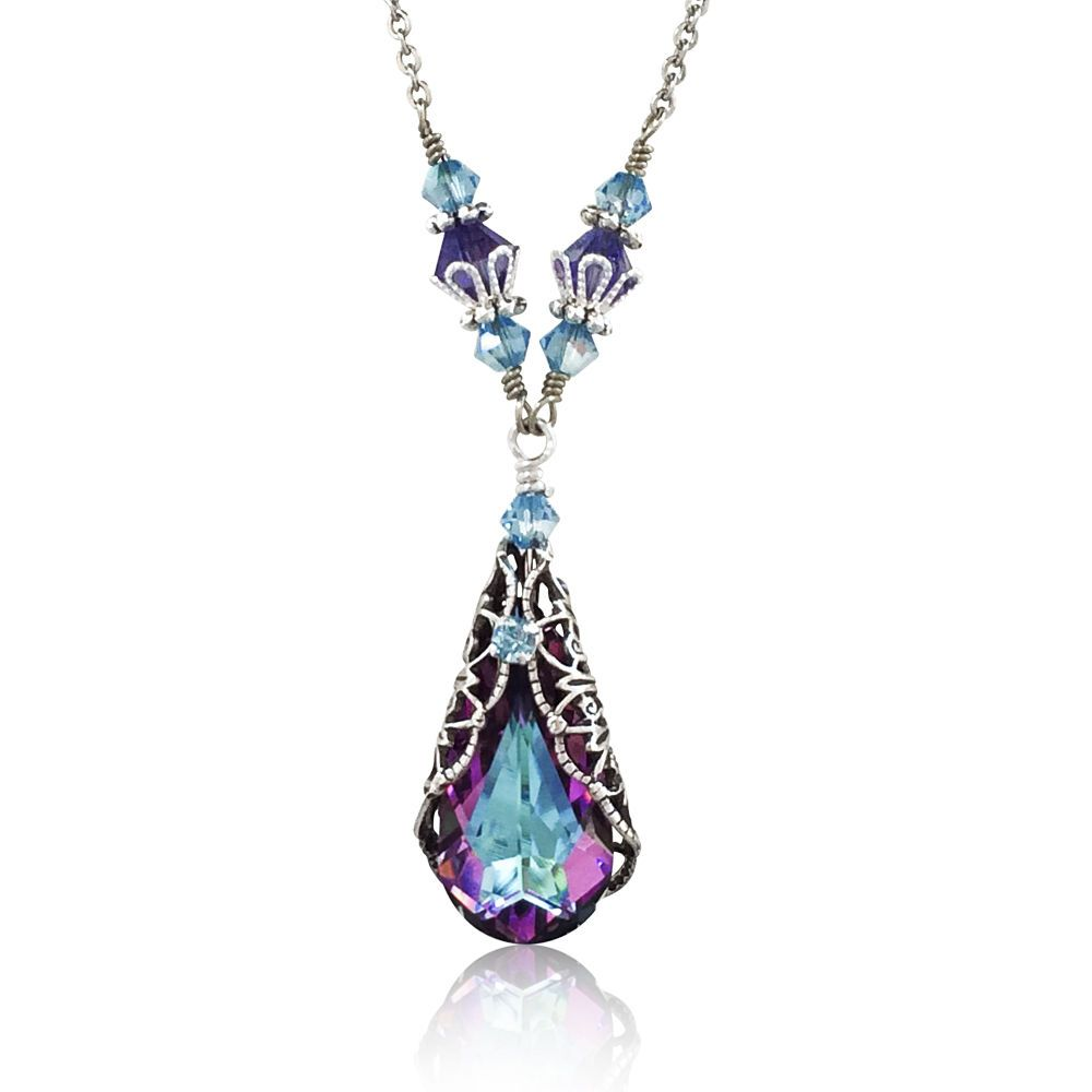 caaa09c5846cb Details about Vitrail Light Pendant Silver-Tone Filigree Necklace ...