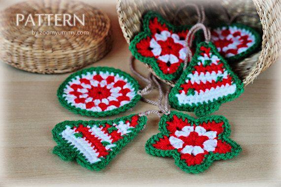 Free Crochet Patterns For Mini Christmas Ornaments : Crochet Pattern - Crochet Christmas Ornaments (Pattern No ...