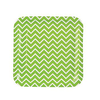 Green Chevron Dinner Plates, Party Plates, Party Tableware, Party Supplies - Oriental Trading