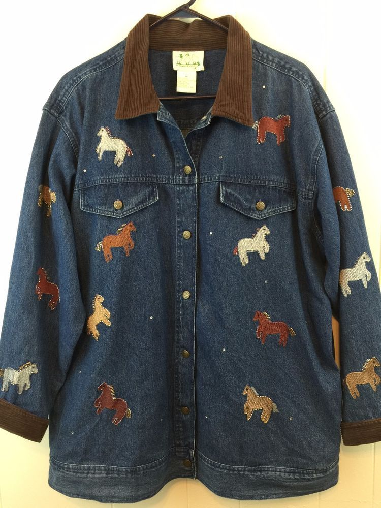 0b128dc7343 Quacker Factory  WomensPlus 1X Top  Horse Embellished Cotton Jean Shirt  Jacket  QuackerFactory