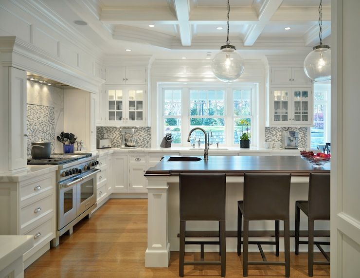 Jan Gleason Architects Coffered Ceiling White Kitchen
