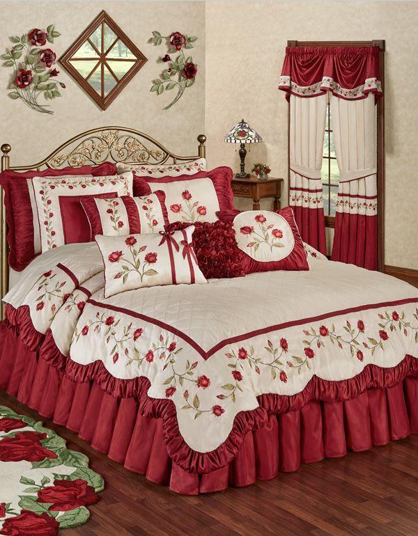 Briar Rose Dark Red Floral Romantic Comforter Bedding | Ropa