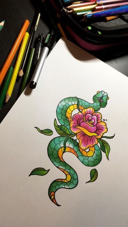 Photo of www.instagram.com … New Traditional Snake Tattoo Design # Snake # Snake Tattoo…