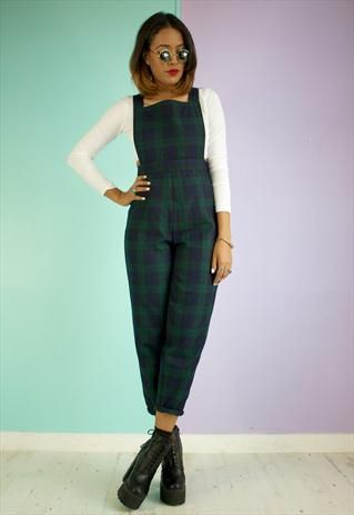 clear-cut texture on sale online forefront of the times Dungaree Trousers In Green Tartan, i NEED these in my life ...