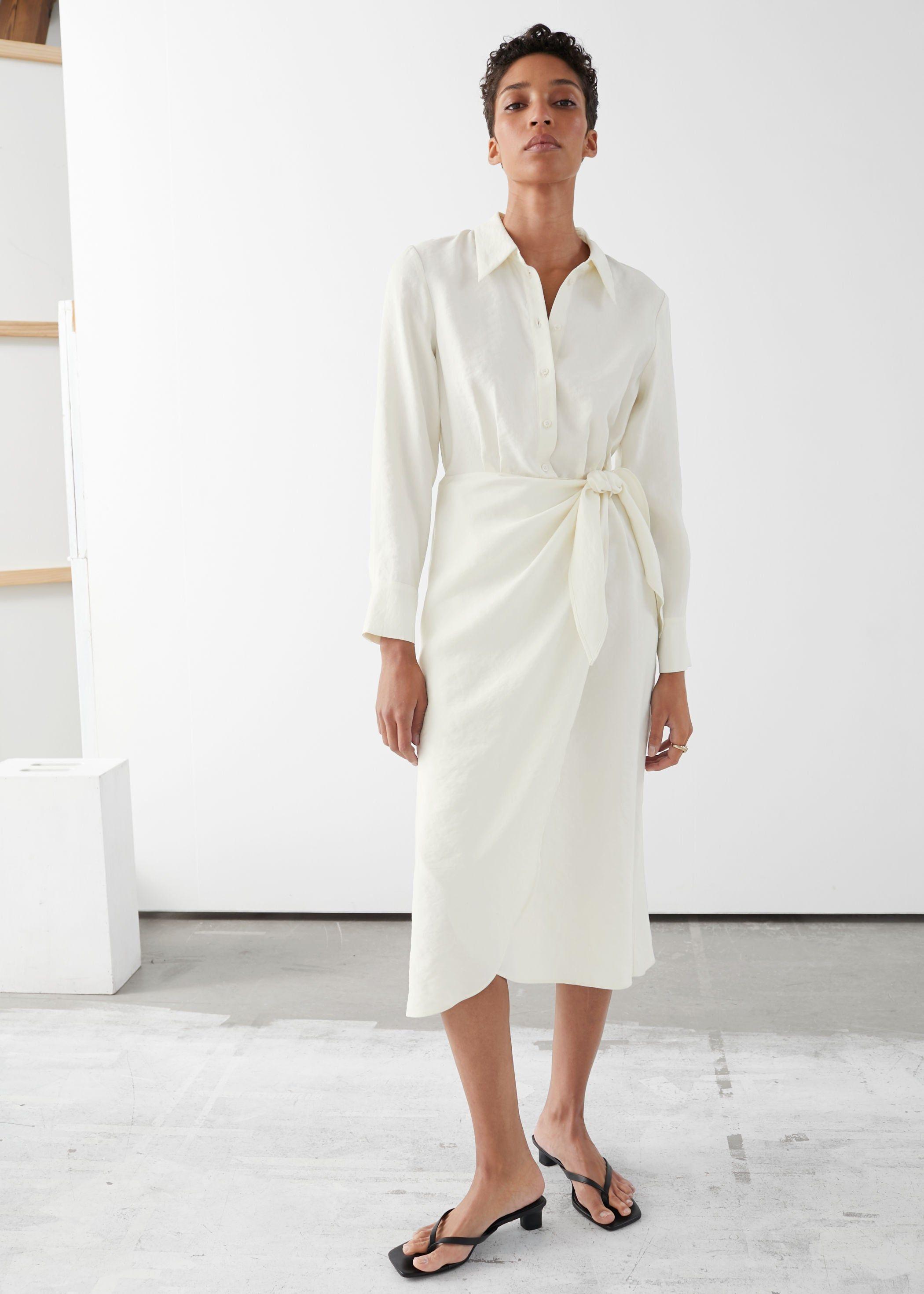 The White Shirt Dress Will Be Your Summer Wardrobe Go To Long Sleeve Wrap Midi Dress Wrap Midi Dress Midi Dress [ 2940 x 2100 Pixel ]