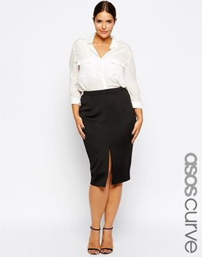 CURVE Midi Workwear Pencil Skirt With Split Front | Midi pencil ...