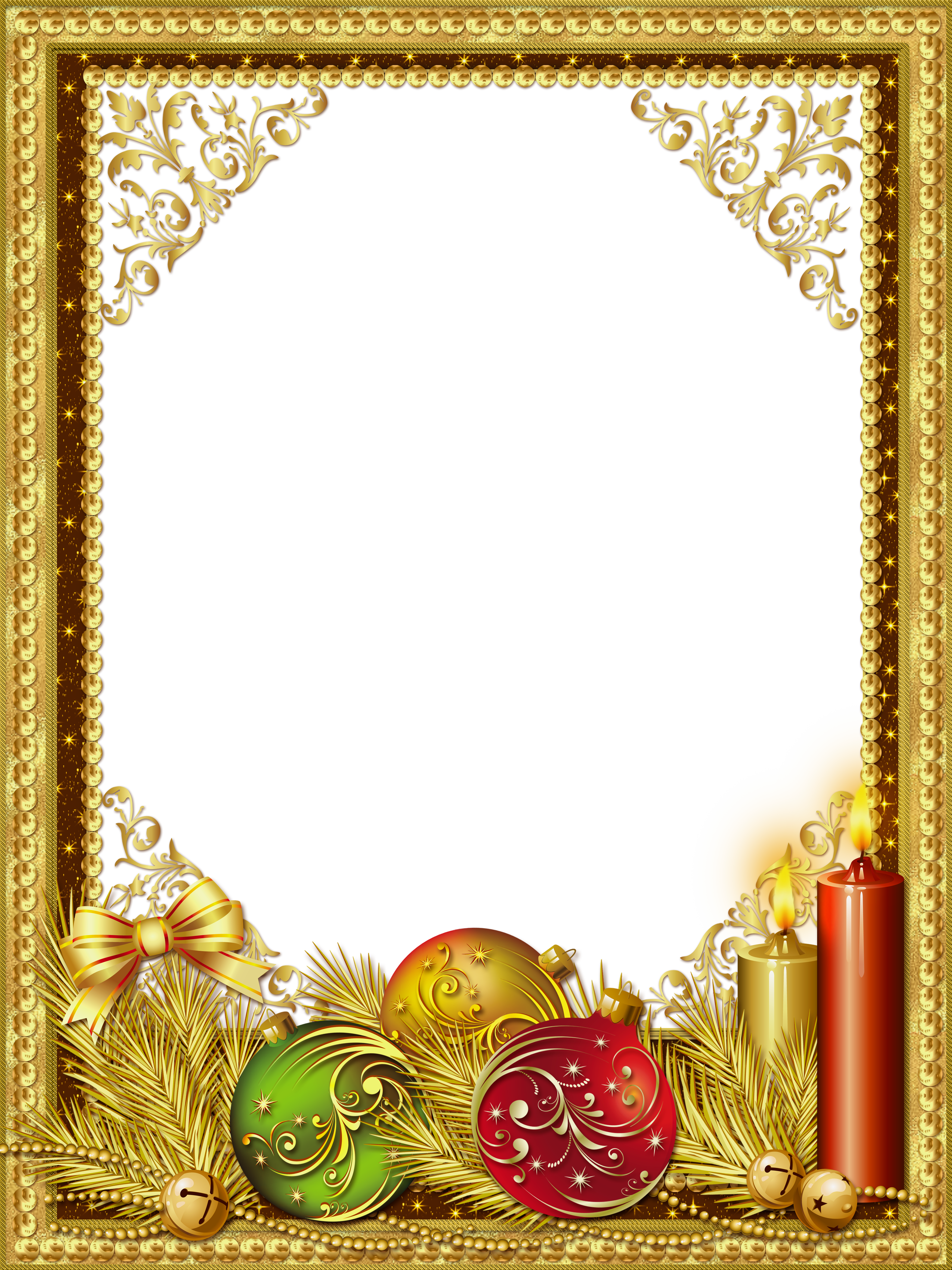 Beautiful Gold Christmas PNG Photo Frame   Natal
