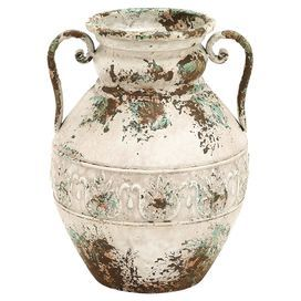 """Distressed metal vase with scrolling handles.   Product: VaseConstruction Material: MetalColor: WhiteFeatures: Two handles Dimensions: 15"""" H x 12"""" Diameter"""