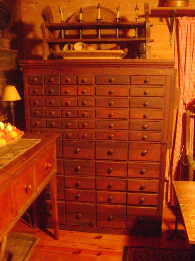 64.25in Tall X 52in Wide X 25in Deep. ANTIQUE APOTHECARY 58 DRAWER CABINET