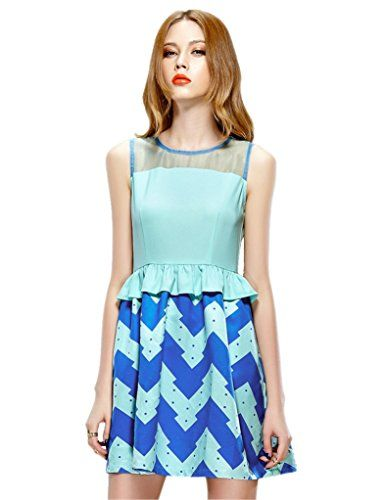 Elf Sack Womens Summer Dress Sleeveless Wavy Stripe Organza Flouncing