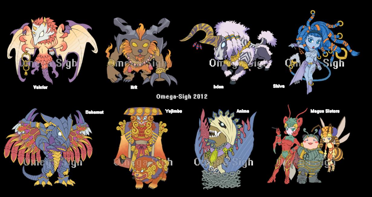 Chibi Aeons By Omega Sigh D5ftlma Png 1230 650 Final Fantasy Art Bahamut Final Fantasy Final Fantasy X