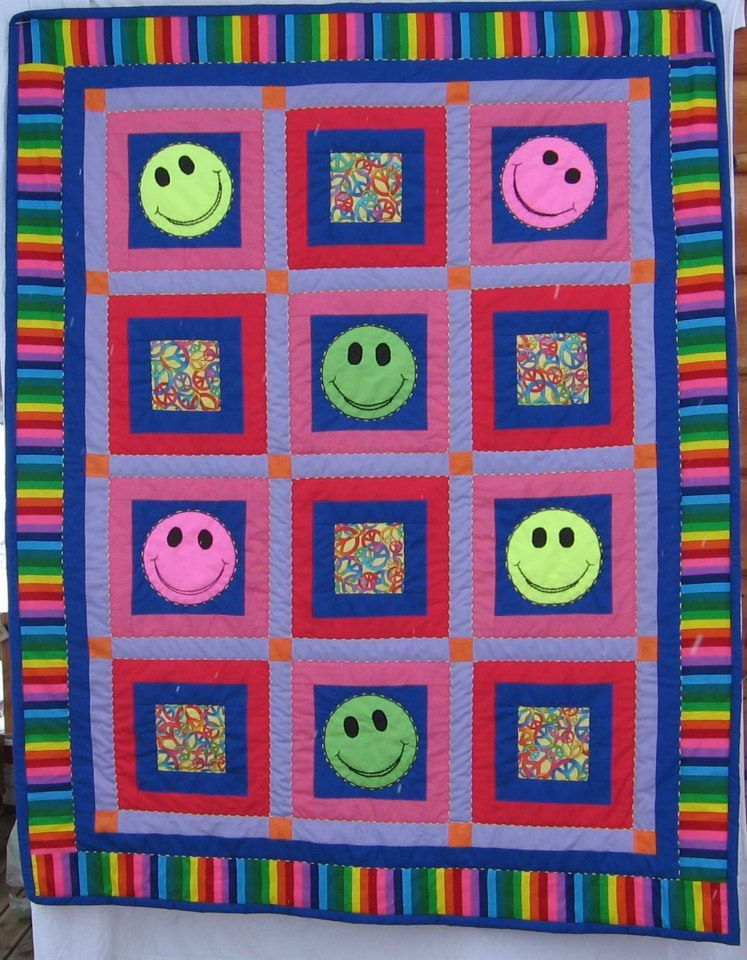 HAND MADE Child's Smiley face Quilt - custom order made by M.S. ... : face quilts - Adamdwight.com