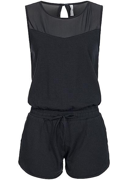 7df5287fb206a3 Seventyseven Lifestyle Jumpsuit Damen Short Jumpsuit 2 Taschen Tunnelzug  schwarz Seventyseven Lifestyle Jumpsuits   Overalls