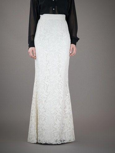Floor Length White Lace High Waist Maxi Skirt Slightly Mermaid