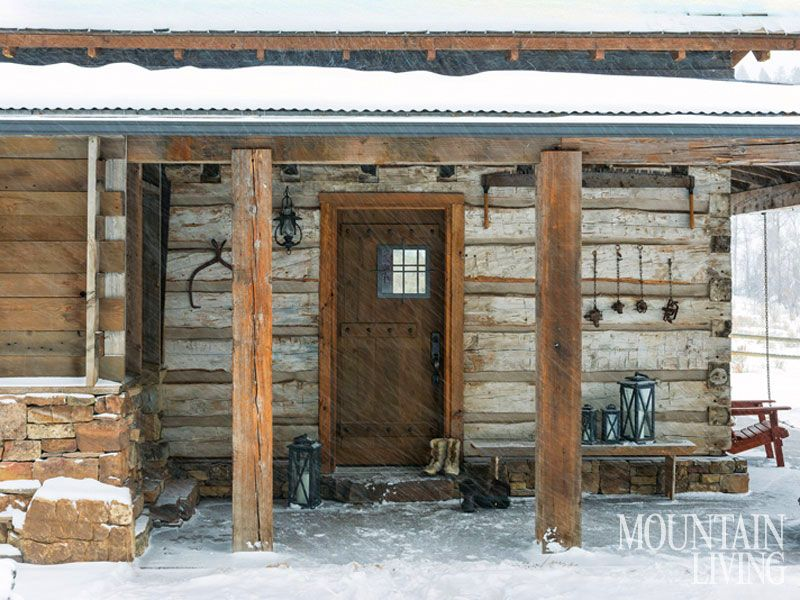 porch, snow, iron, skins, hides, snowy, cosy, old, log cabin ...
