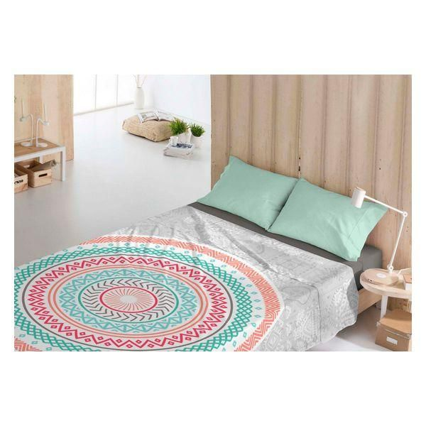 Top sheet Costura Yamine Coral - UK super king size bed (260 x 270 cm)