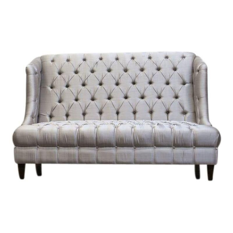 High Back Silver Tufted Settee Home Decor