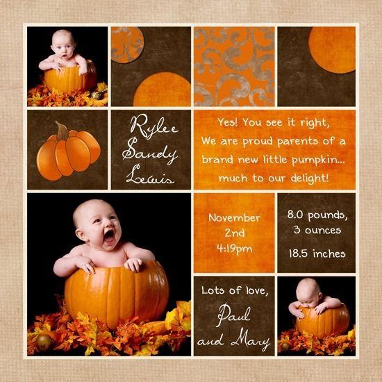 Pumpkin Photo Birth Announcement Fall Baby Orange – Fall Birth Announcements