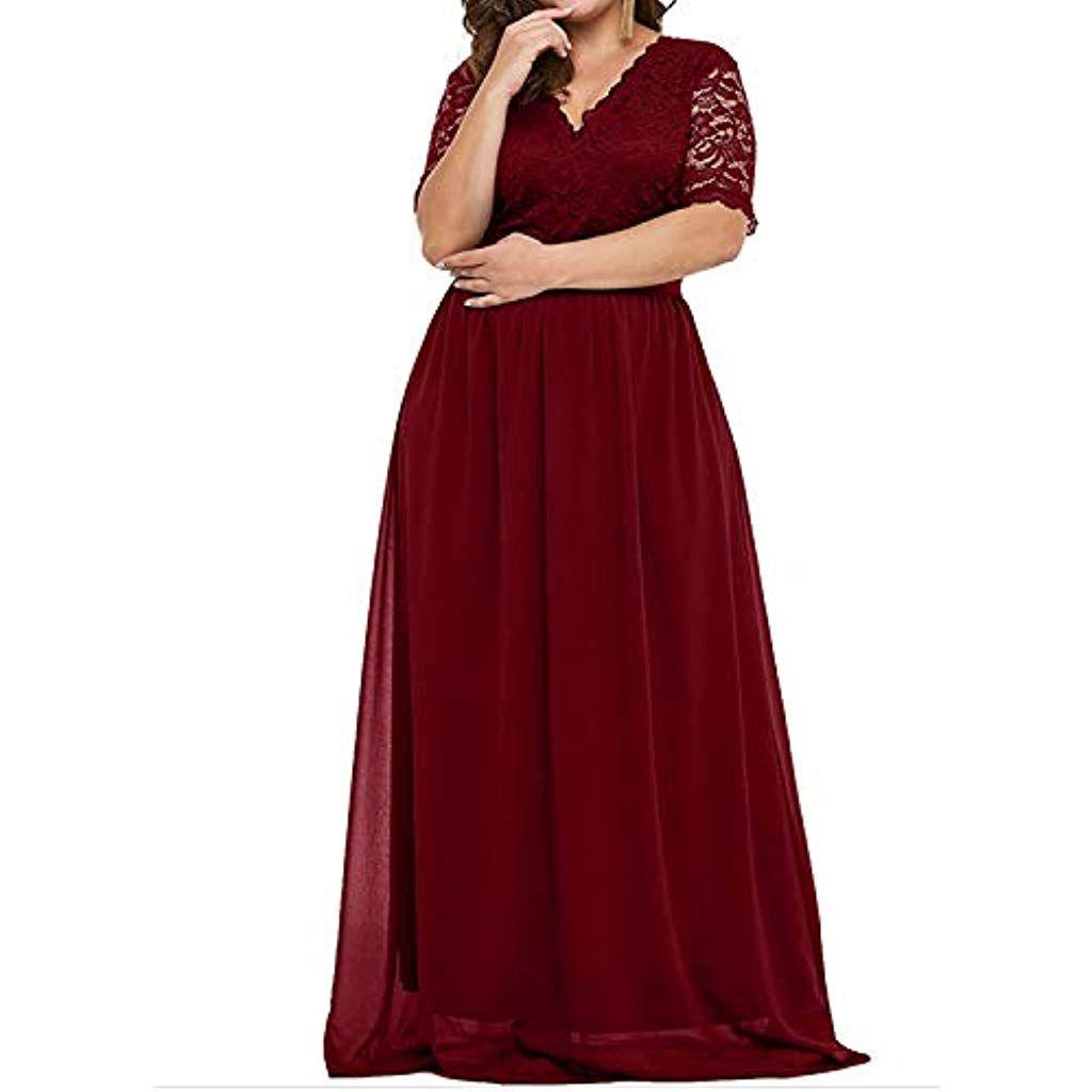 AUDATE Damen Lang Abendkleider Chiffon Spitze Abendkleid Elegant
