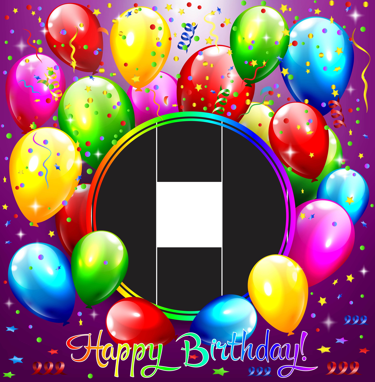 Happy Birthday Transparent Purple Frame Happy Birthday Frame