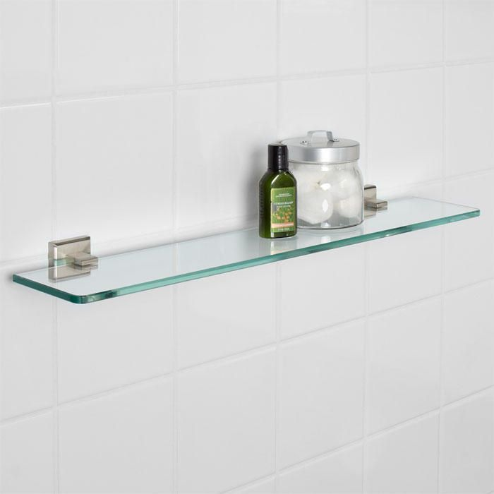 Haskell Collection Tempered Glass Shelf Brushed Nickel Glasses - Brushed nickel glass bathroom shelf