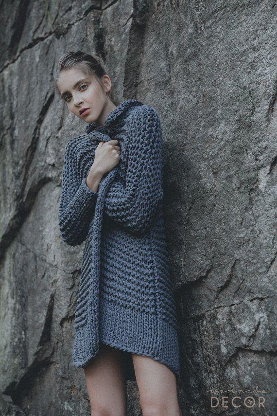 Soft and warm chunky handmade dark gray cardigan #etsyfinds