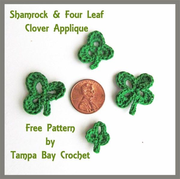 Free St Patrick\'s Day Crochet Pattern. Free shamrock and four leaf ...