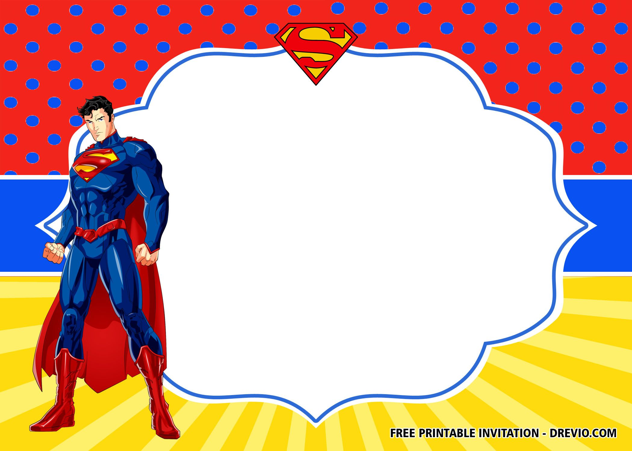 Free Superhero Superman Birthday Invitation Templates Superhero
