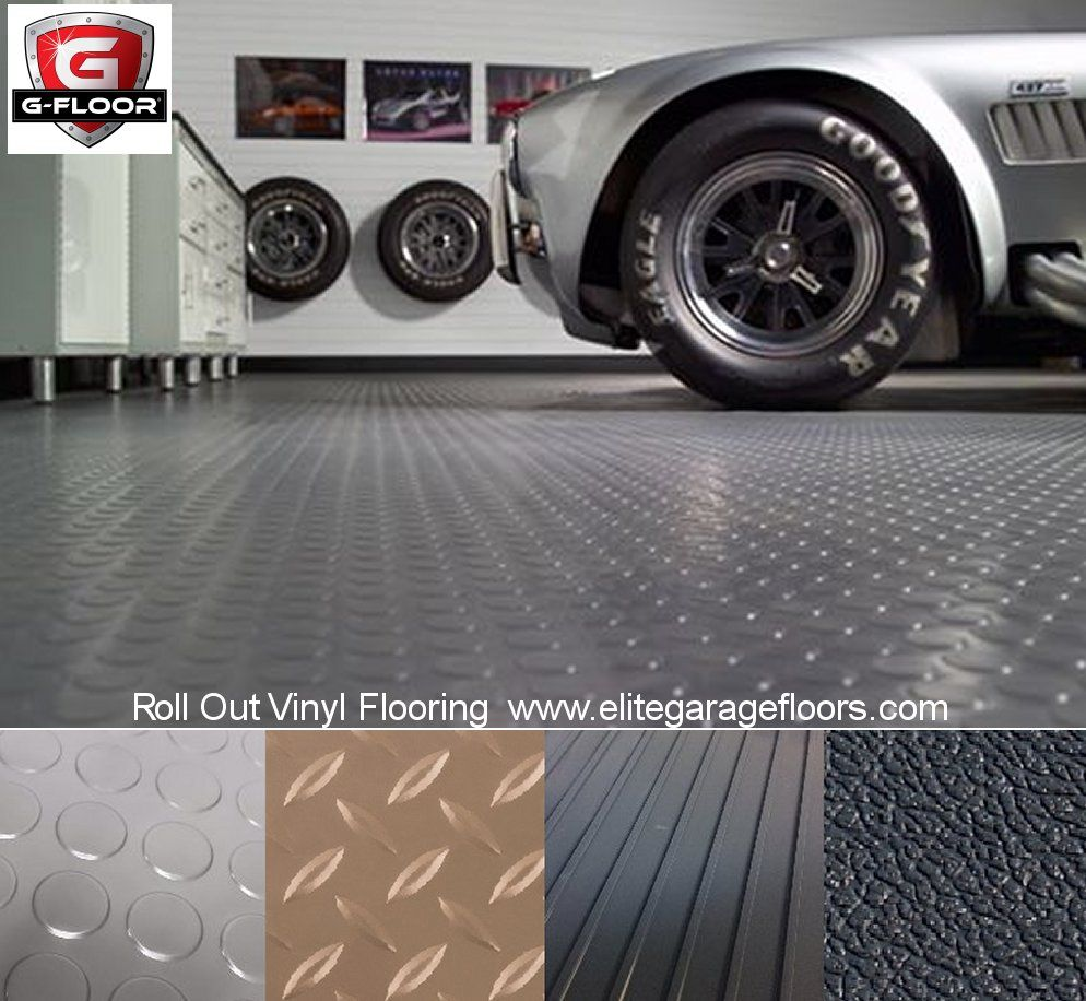 Vinyl Roll Out Flooring By G Floor Comes In Coin Diamond Ribbed Or Levant Pattern Garagefloorin Vinyl Garage Flooring Garage Flooring Options Garage Floor