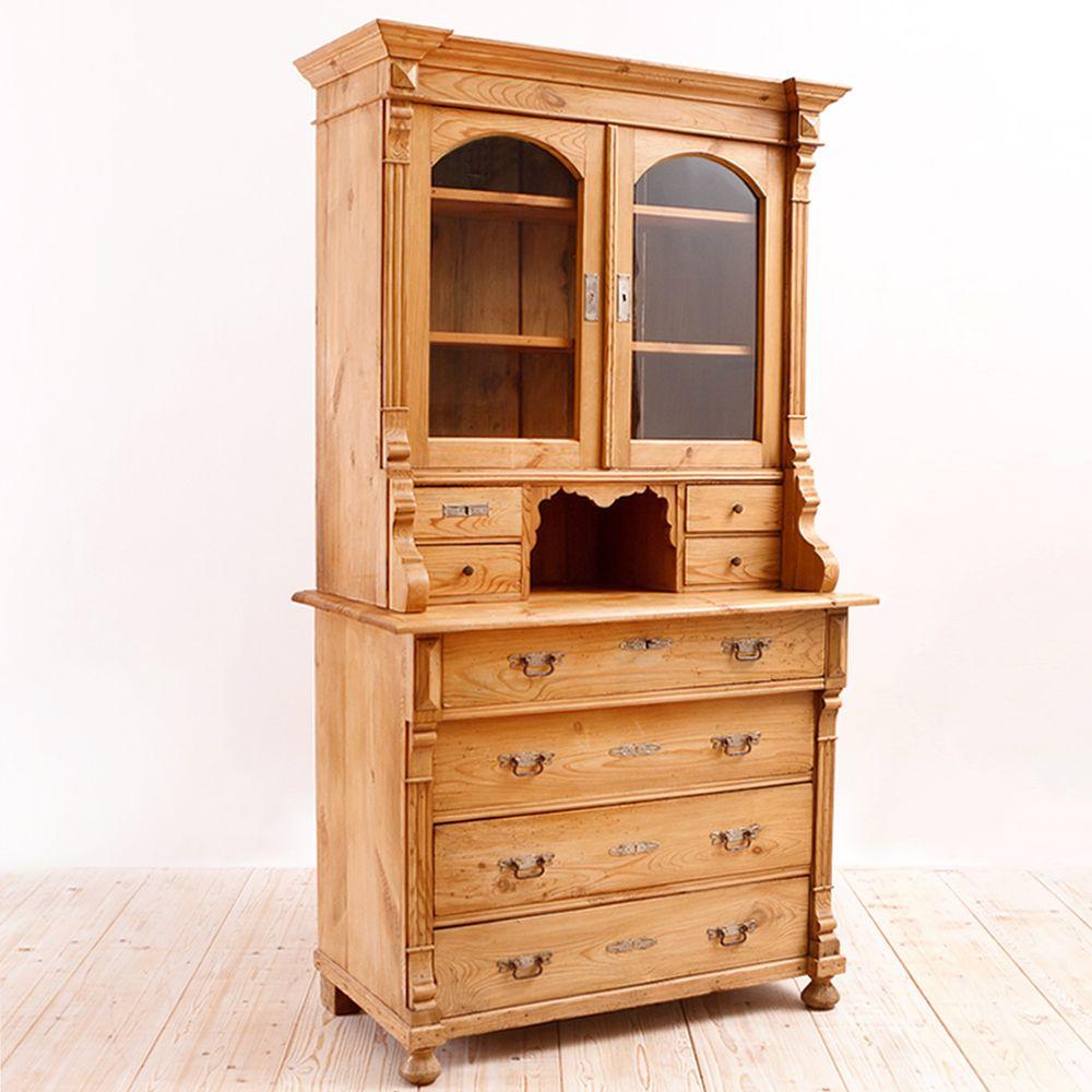 German Antique Grunderzeit Hutch in Pine, c. 1880: Antique Furniture -  French Antiques - German Antique Grunderzeit Hutch In Pine, C. 1880: Antique Furniture