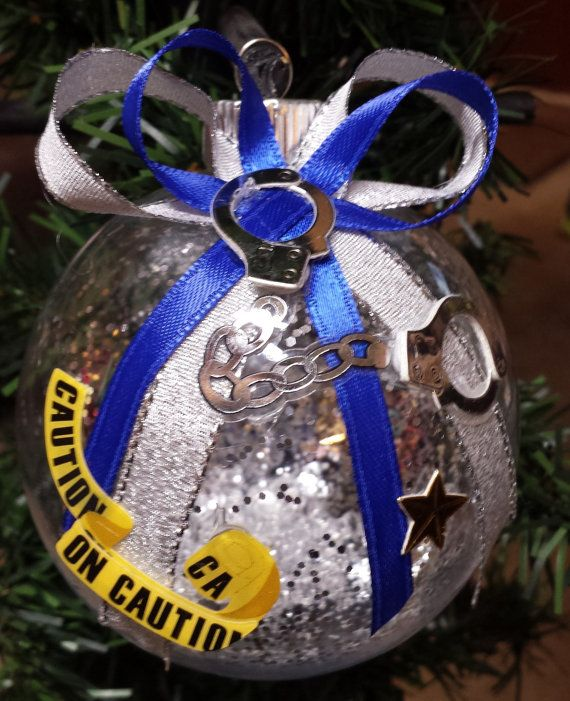 police christmas ornament handcuffs caution by beautifulballs