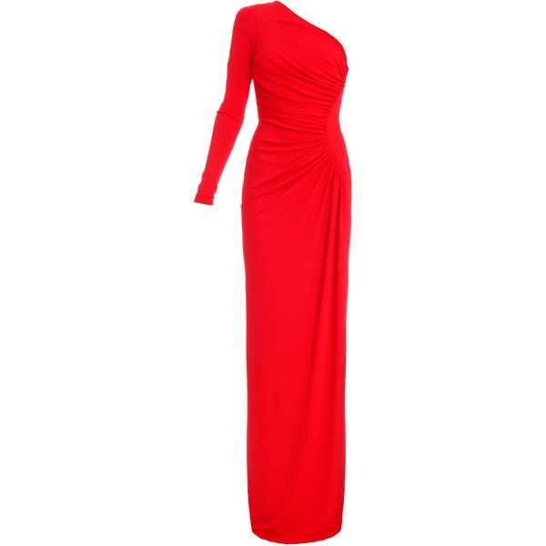 ELIE SAAB Asym One SLV Jersey Gown (12 900 SEK) ❤ liked on Polyvore featuring dresses, gowns, long dresses, elie saab, maxi dress, long sleeve dress, long sleeve gown, red ball gown, long sleeve evening gowns and long sleeve maxi dress