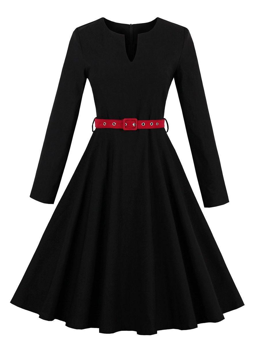 Split neck plain belt skater dress dress online fashion designers