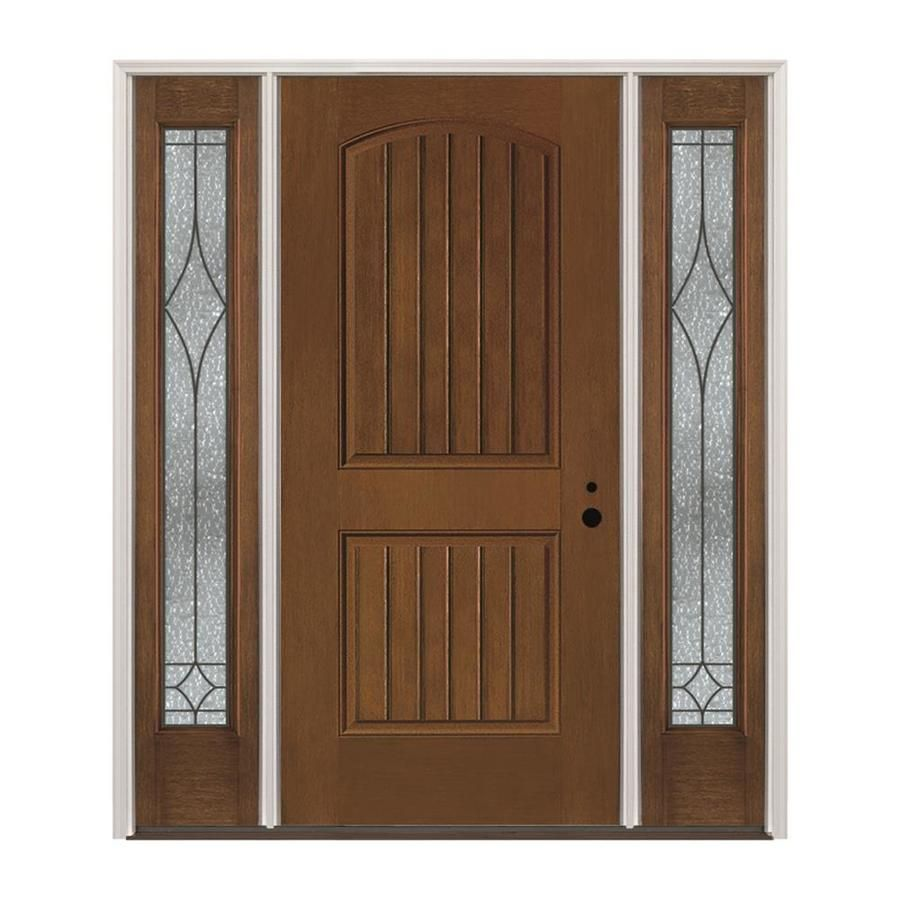 Pella Left Hand Inswing Prestained Provincial Exterior Interior Stained Fibergl Prehung Entry Door With Sidelights Insulating Core Common