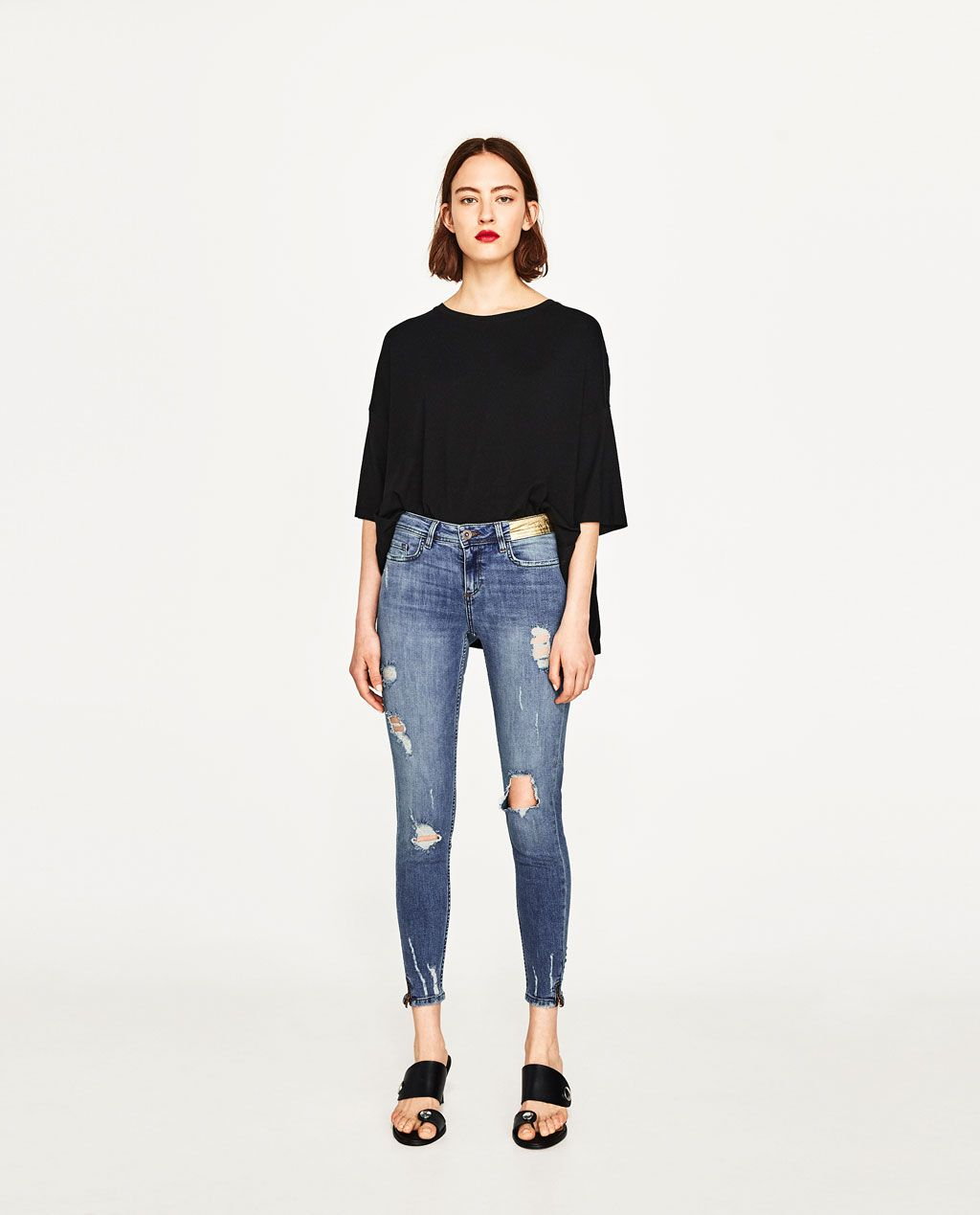 c7291585 RIPPED MID-RISE JEANS-View All-JEANS-WOMAN | ZARA United States ...