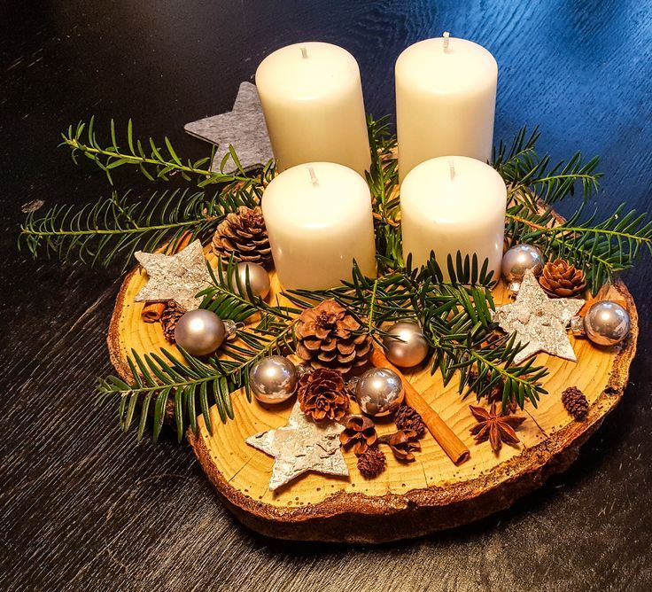DIY Adventskranz auf einer Baumscheibe - Mum and Cherry #adventwreath