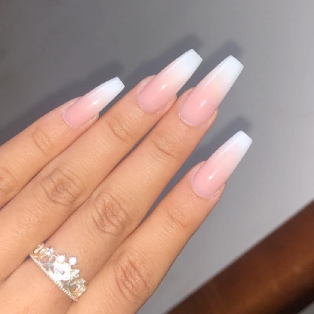 Client S View Miki Classic French Ombre With Long Coffin Shape Long French Tip Nails Coffin Shape Nails Ombre French Nails
